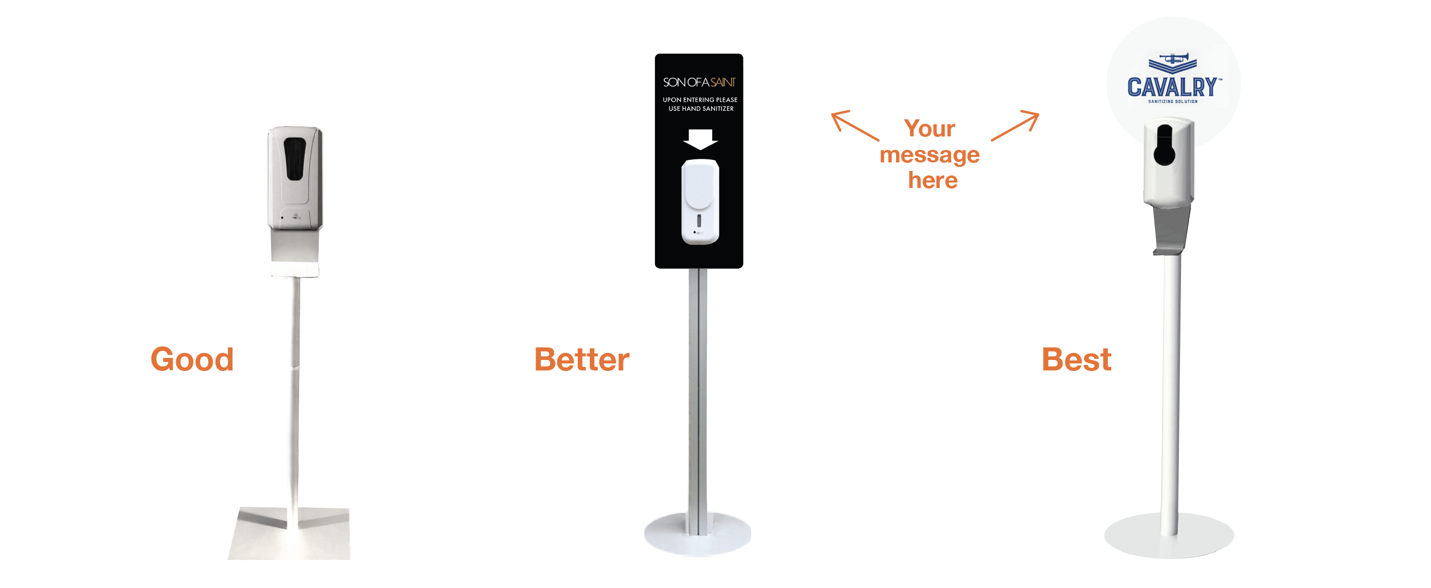 COVID-19 HAND SANITIZER STANDS & STATIONS - self standing or wall-mounted sanitizer dispenser holders with dispensers